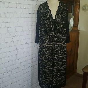 Kiyonna black lace dress size 4 26 28 scallop